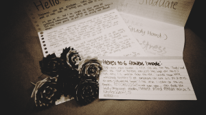 A letter, some typography encouragement letter, and 6 duck tape flowers from Valence :)