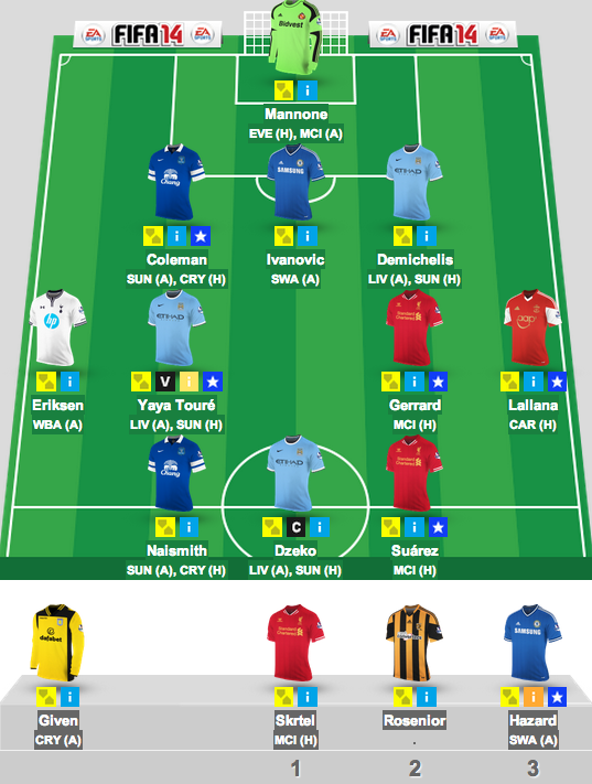 Gameweek 34 final lineup