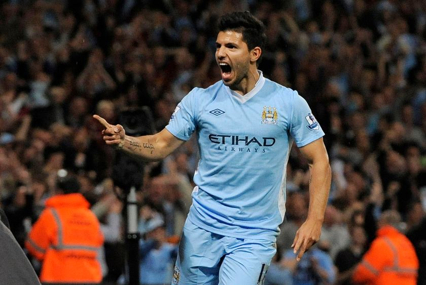 Manchester City's  Sergio Aguero celebrates after scoring during their English Premier League soccer match against Swansea City at the Etihad stadium in Manchester